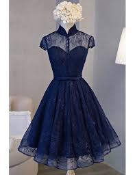 blue dress blue homecoming dresses vintage a line knee length high neck