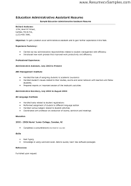 Resume Sample For Education by Administrative Assistant Cover Letter