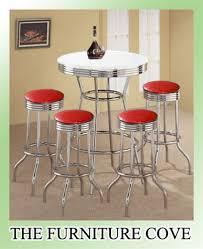 Retro Bar Table 5 Retro Vibe White Bistro Pub Table Set With 4 29 Swivel