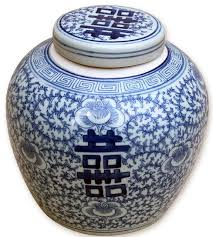 blue and white porcelain double happiness cover jar lotus motif