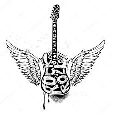 drugs and rock n roll rock guitar with wings stock vector