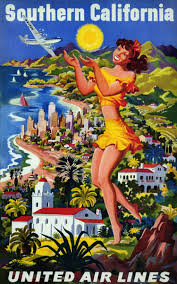California travel posters images Vintage 1950s united air lines southern california travel poster jpg