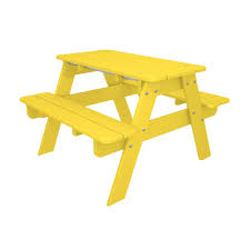 Polywood Syracuse Polywood Kids Outdoor Patio Picnic Table Kt130le The Home Depot
