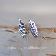 feather stud earrings china wholesale indian themed gift jewelry sterling silver feather