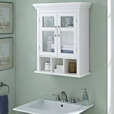 Linen Cabinet Glass Doors by White Bathroom Wall Cabinet With Glass Doors