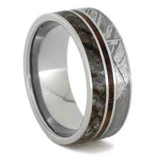koa wedding bands meteorite wedding band with dinosaur bone and koa wood