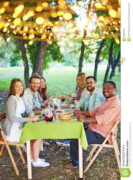 thanksgiving friends outdoor dinner stock photo image 58894970