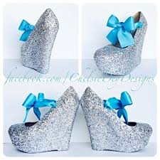 blue bows glitter wedge heels silver platform shoes turquoise teal blue