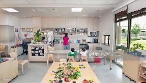 Preschool Kitchen Furniture Interior View Of Preschool Classroom And Kitchen Stock Photo