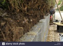 concrete block inner garden wall with wall ties stock photo