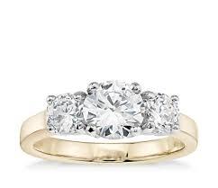 three stone engagement rings classic three stone diamond engagement ring in 18k yellow gold
