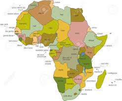 Map Of Uganda In Africa by A Full Color Map Of Africa With Country Names Called Out Stock