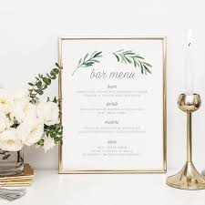 wedding drink menu template wedding bar menu template drink sign printable bar menu