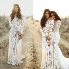 wedding dress with sleeves sheath bateau sleeves open back bohemian lace wedding dress