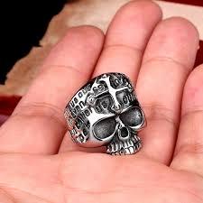 classic skeleton ring holder images Gothic men 39 s biker cross demon skull skeleton ring buycoolprice jpg