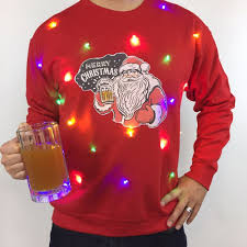 ugly christmas sweater with lights light up ugly christmas sweater mens santa beer led tacky holiday