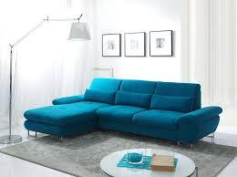 canape d angle convertible design canapé d angle convertible en tissu bleu azur luciano avec coffre
