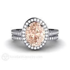 morganite bridal set oval morganite halo wedding set with matching diamond band 14k