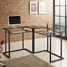 walker edison corner computer desk walker edison d56c33cb c frame glass metal l shaped computer desk