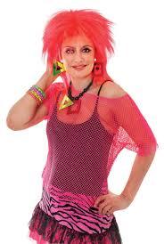 80s costume idea wear a neon fishnet top over a black strappy
