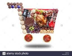 thanksgiving and groceries in the shape of a shopping
