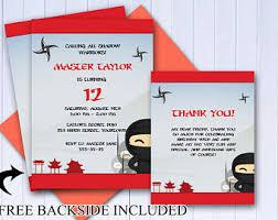 ninja invitations etsy