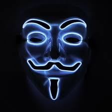 anonymous mask glowing anonymous mask el wire craft