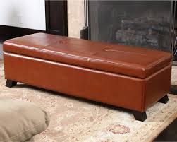 cambridge saddle brown leather storage ottoman modern living
