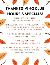 thanksgiving 2017 trumbull racquet club