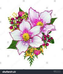 flower garland winter flowers hellebore decorated stock