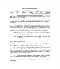 Equity Investment Agreement Template 10 investment contract templates free word pdf documents
