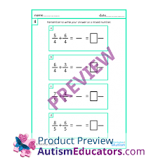 u0026 subtraction of fractions worksheets with scaffolding