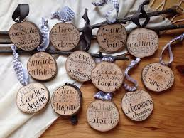 12 days of tree slice ornaments set of 12