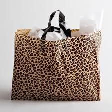 leopard plastic shopping bags large a u0026b store fixtures
