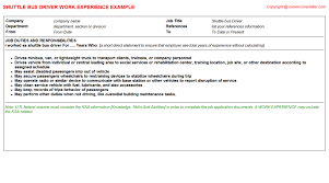 Sample Bus Driver Resume by Pack Train Driver Cv Work Experience Samples