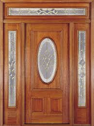 Pre Stained Interior Doors by Exterior Wood Door With Oval Glass In Top Panel Mahogany Doors