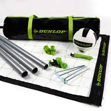 dunlop outdoor sports volleyball set portable net with poles