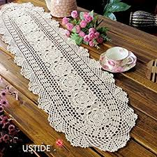 amazon com ustide floral hand crochet table runner doily beige