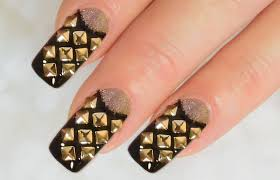 nailart design tutorial french reverse with rivets and beads in