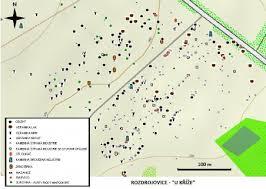 obr cky map of rozdrojovice u k ríže archaeological location made on