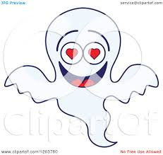 clipart of a halloween ghost in love royalty free vector