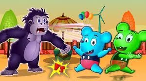 mickey mouse gummy bear scares gorilla with halloween pranks