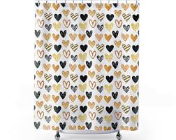 Black Sequin Shower Curtain Gold Shower Curtain Etsy