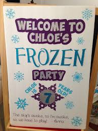 welcome sign for yet another frozen party i used foam board from
