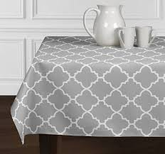 Dining Room Tablecloths by Amazon Com Grey U0026 White Trellis Tablecloths Dining Room Kitchen