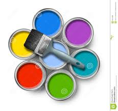 color paint cans with brush stock photo image 20315088