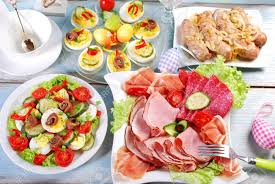 easter dishes traditional traditional easter breakfast with ham and cured meat platter salad