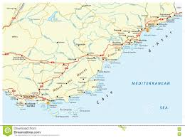Cannes Map by Road Map Of French Riviera France Stock Illustration Image