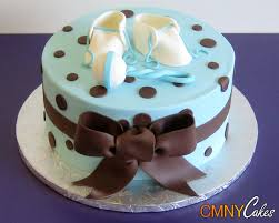 blue and brown baby shower cake cmny cakes