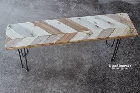 doodlecraft chevron bench with hairpin legs